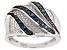 Blue Diamond Rhodium Over Sterling Silver Bridge Ring 0.25ctw