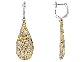 Multi-Color Diamond 14K Two-Tone Gold Cluster Dangle Earrings 1.90ctw