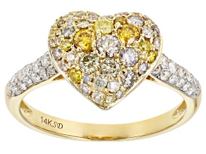 Multi-Color Diamond 14K Yellow Gold Heart Cluster Ring 0.90ctw