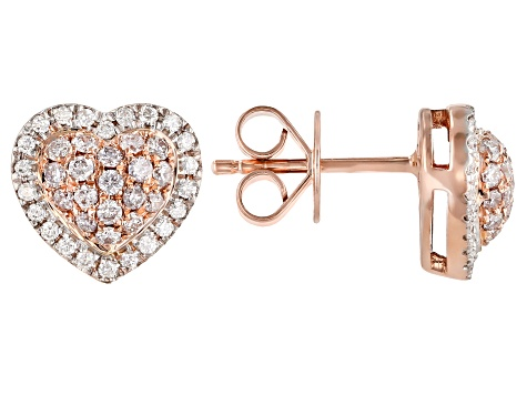Natural Pink And White Diamond 14K Rose Gold Heart Cluster Earrings 0.50ctw