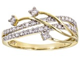 White Diamond 10K Yellow Gold Crossover Ring 0.25ctw