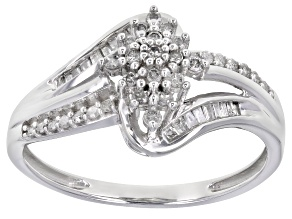 White Diamond 10K White Gold Bypass Ring 0.33ctw