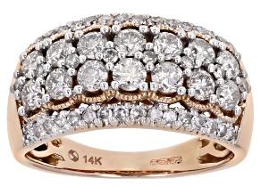 White Diamond 14K Rose Gold Wide Band Ring 1.50ctw