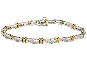 White Diamond 10K Two-Tone Gold Tennis Bracelet 1.00ctw