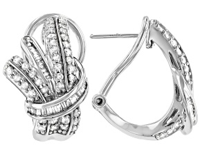 White Diamond Rhodium Over Sterling Silver J-Hoop Earrings 1.00ctw