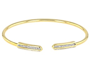 White Diamond 14K Yellow Gold Over Sterling Silver Cuff Bracelet 0.15ctw
