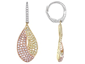 Natural Pink, Natural Yellow, And White Diamond 14K Three-Tone Gold Dangle Earrings 1.55ctw