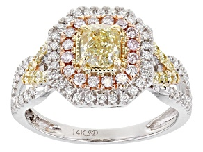 Natural Yellow, Natural Pink, And White Diamond 14K White Gold Cluster Ring 1.30ctw