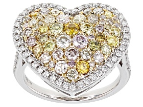 Multi-Color Diamond 14K White Gold Heart Cluster Ring 1.79ctw