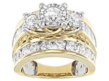 Picture of White Diamond 10K Yellow Gold 3-Stone Bridge Ring 4.00ctw