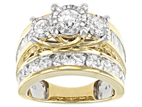 White Diamond 10K Yellow Gold 3-Stone Bridge Ring 4.00ctw