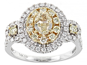 Picture of Natural Yellow And White Diamond 14K White Gold Cluster Ring 1.35ctw