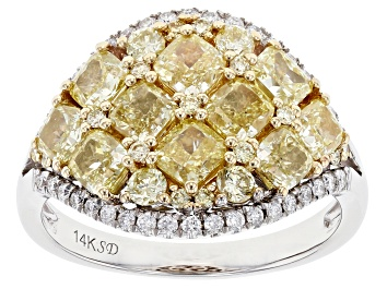 Picture of Natural Yellow and White Diamond 14K White Gold Cluster Ring 3.14ctw