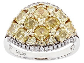 Natural Yellow and White Diamond 14K White Gold Cluster Ring 3.14ctw