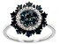 Blue Diamond Rhodium Over Sterling Silver Cluster Ring 0.80ctw