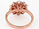 Champagne Diamond 14K Rose Gold Over Sterling Silver Cluster Ring 0.80ctw
