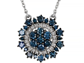 Blue Diamond Rhodium Over Sterling Silver Cluster Necklace 0.80ctw