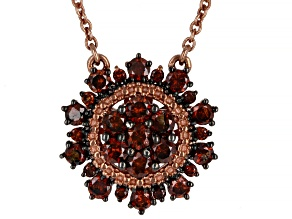 Red Diamond 14K Rose Gold Over Sterling Silver Cluster Necklace 0.80ctw