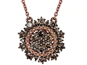 Champagne Diamond 14K Rose Gold Over Sterling Silver Cluster Necklace 0.80ctw