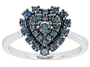 Blue Diamond Rhodium Over Sterling Silver Heart Cluster Ring 0.65ctw