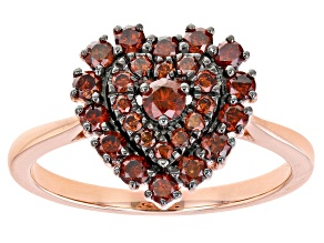 Red Diamond 14K Rose Gold Over Sterling Silver Heart Cluster Ring 0.65ctw