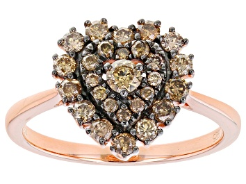 Picture of Champagne Diamond 14K Rose Gold Over Sterling Silver Heart Cluster Ring 0.65ctw
