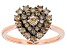 Champagne Diamond 14K Rose Gold Over Sterling Silver Heart Cluster Ring 0.65ctw