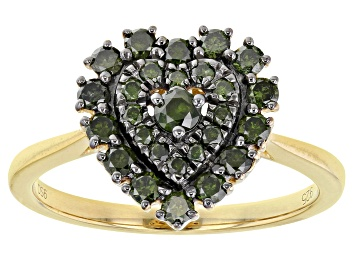 Picture of Green Diamond 14K Yellow Gold Over Sterling Silver Heart Cluster Ring 0.65ctw