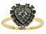 Green Diamond 14K Yellow Gold Over Sterling Silver Heart Cluster Ring 0.65ctw