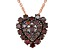 Red Diamond 14K Rose Gold Over Sterling Silver Heart Cluster Pendant With Chain 0.75ctw