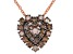 Champagne Diamond 14K Rose Gold Over Sterling Silver Heart Cluster Pendant With Chain 0.75ctw