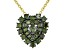 Green Diamond 14K Yellow Gold Over Sterling Silver Heart Cluster Pendant With Chain 0.75ctw