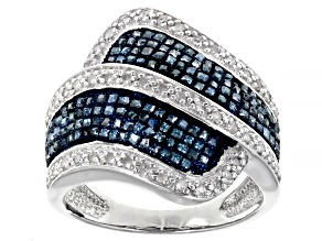 Blue And White Diamond Rhodium Over Sterling Silver Bypass Ring 1.00ctw
