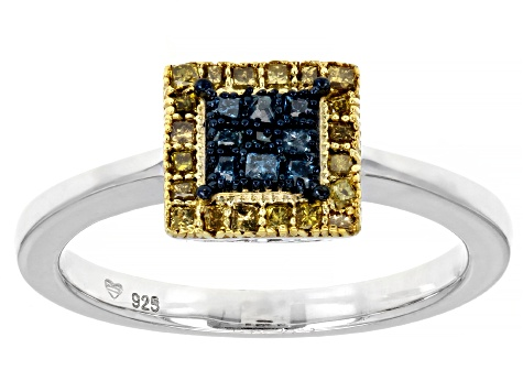 Blue And Yellow Diamond Rhodium Over Sterling Silver Ring And Pendant Jewelry Set 0.50ctw