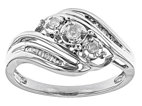 White Diamond 10K White Gold 3-Stone Bypass Ring 0.20ctw