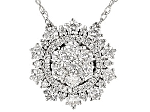 White Diamond 10K White Gold Cluster Necklace 0.85ctw