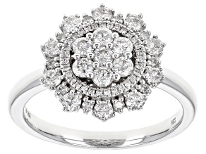 White Diamond 10K White Gold Cluster Ring 0.88ctw