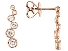 White Diamond 10K Rose Gold Drop Earrings 0.50ctw