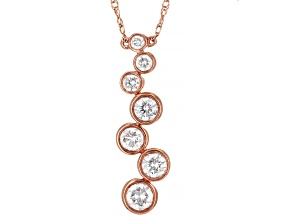 White Diamond 10K Rose Gold Necklace 0.45ctw