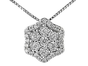 White Diamond Rhodium Over Sterling Silver Cluster Pendant With Chain 0.30ctw