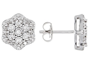 White Diamond Rhodium Over Sterling Silver Cluster Stud Earrings 0.50ctw