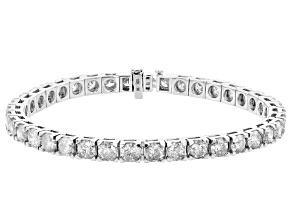 White Diamond 10K White Gold Tennis Bracelet 15.00ctw