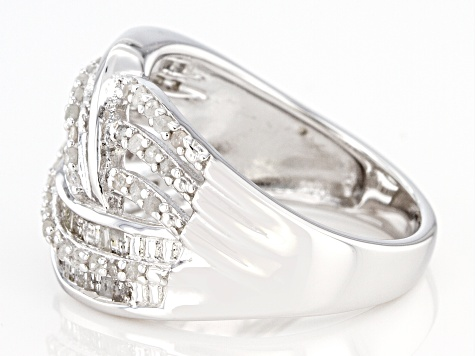 White Diamond Rhodium Over Sterling Silver Crossover Ring 0.75ctw