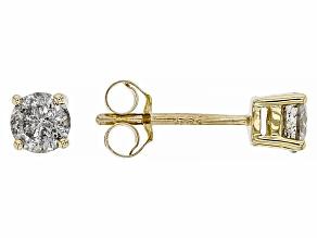 White Diamond 10K Yellow Gold Stud Earrings 0.40ctw