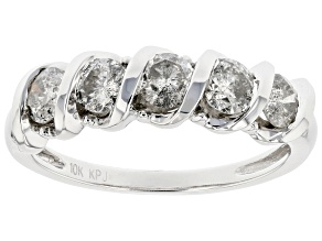 White Diamond 10K White Gold Band Ring 1.00ctw