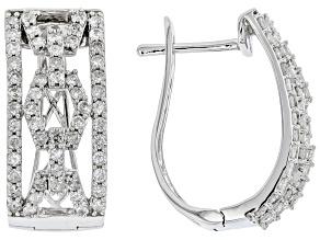 White Diamond 10K White Gold Hoop Earrings 2.00ctw