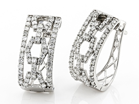 White Diamond 10K White Gold Hoop Earrings 2.00ctw