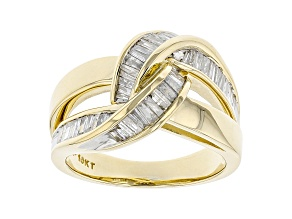 White Diamond 10K Yellow Gold Crossover  Ring 0.85ctw