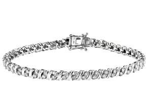 White Diamond 10K White Gold Tennis Bracelet 1.85ctw