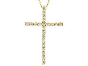 Natural Yellow Diamond 14K Yellow Gold Cross Pendant With Chain 1.00ctw